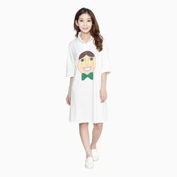 Đầm suông in hình 3D cá tính màu trắng