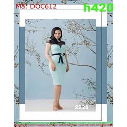 Đầm ôm dự tiệc phối lưới chấm bi sành điệu xinh xắn DOC612
