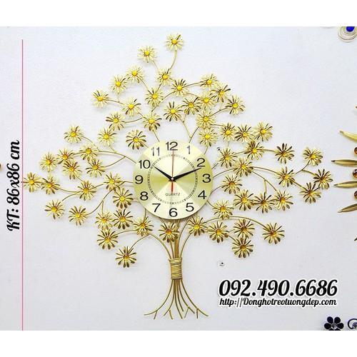 Đồng hồ treo tường trang trí đính đá cây tài lộc
