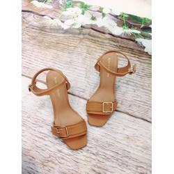 Giày sandal cao gót, quai ngang khoá cao 7cm