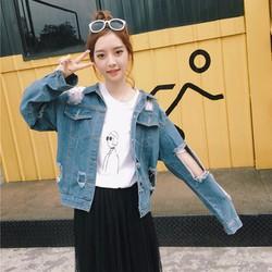 áo khoác jeans rách chắp vá Mã: AO3144 - XANH NHẠT