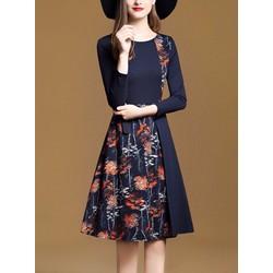 Đầm xòe cách điệu họa tiết hoa - Hàng nhập