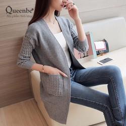 Áo khoác nữ đẹp áo khoác len dáng dài màu xám Queenbe GLA148