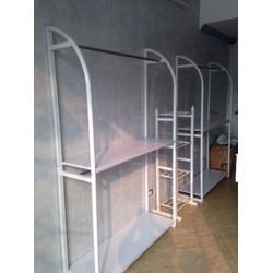 Giàn kệ treo quần áo shop thời trang - Bộ 2 tầng khung cong