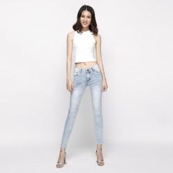 Quần jeans skinny nữ cạp vừa xanh xám