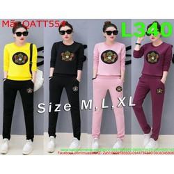 Bộ thể thao nữ áo thun dài tay hoa văn mới phối quần dài QATT554