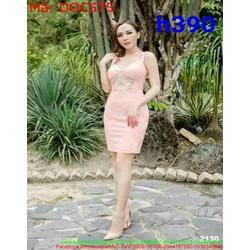Đầm ôm dự tiệc sát nách phối ren m DOC575