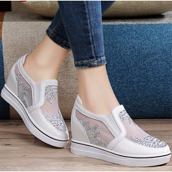 Giày Lười Độn Gót Nữ Da Thật Phối Lưới Cao 6Cm Hàng Nhập Giá 1 100K G1208