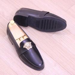 Giày lười giày mọi da lỳ màu đen dành cho nam