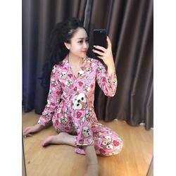 bộ pijama cổ bẻ hàng Quảng Châu