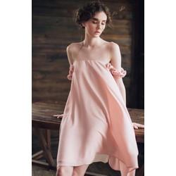 CÓ 4 MÀU ĐỦ SIZE-Đầm Suông Phối Lưới Da Kết 16 Bông Hồng-VDX245