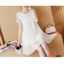 đầm suông trắng ô lưới cực xinh