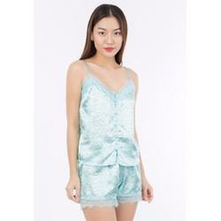 Bộ đồ mặc nhà Thebrashop AN7 phối ren màu xanh ngọc họa tiết hoa