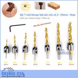Bộ 7 mũi khoan gỗ doa lỗ vít đầu đinh phủ titanium