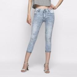 Quần jeans skinny lửng cạp vừa xanh xám