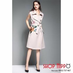 Đầm suông thu đông cổ vest họa tiết thêu - Hàng nhập loại 1