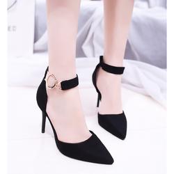 Giày cao gót mũi nhọn cao cấp hàng nhập _ Màu Đen_KS1110061