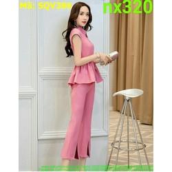 Sét áo kiểu tay con tùng xòe phối quần xẻ sành điệu SQV386