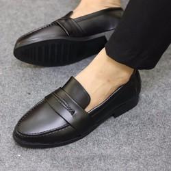 Giày lười giày mọi da lỳ màu đen dành cho nam công sở