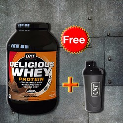 QNT Delicious Whey protein Free Bình Shaker cao cấp QNT Đen