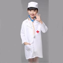 Áo Bác Sĩ Ngắn Tay Kèm Nón Cho Bé Làm Bác Sĩ Từ 2-12 Tuổi