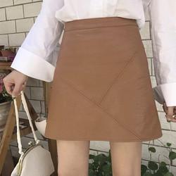 Chân váy da ngắn tháp da xéo