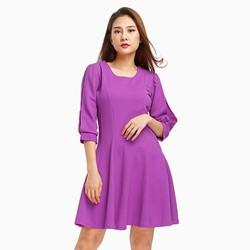 Đầm xòe tay lỡ phối ren màu tím size M