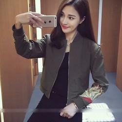 áo khoác lửng hoa văn Mã: AO2990 - XANH RÊU