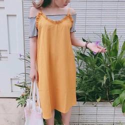 Đầm suông phối áo trễ vai