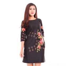 GIẢM SỐC 3 NGÀY VÀNG - Đầm suông hoa nền đen túi sườn
