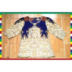 Áo voan nữ vàng xanh tay lỡ, họa tiết baroque