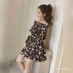 Đầm bẹt vai tay nhúng