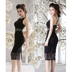 Đầm đen dự tiệc sang trọng thiết kế phối ren ôm body