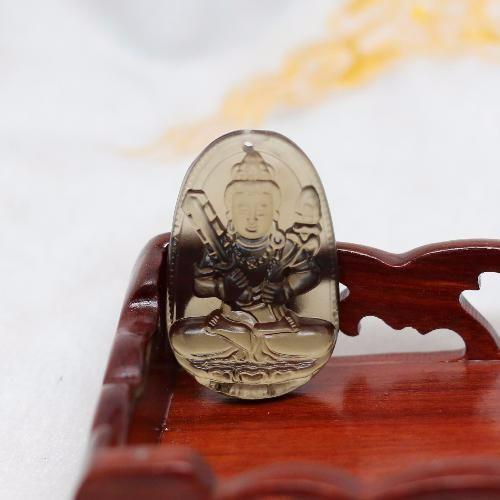 Mặt Dây Chuyền Hư Không Tạng Bồ Tát Thạch Anh Khói 3x 2.3 cm