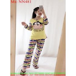 Đồ bộ nữ mặc nhà dài tay hình khỉ dễ thương NN481