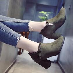 Giày cao gót bít mũi S1063 màu rêu