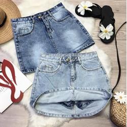 Chân váy jeans lót quần