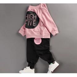 Bộ quần áo bé gái dài tay in hình HIGH FIVE thời trang ZAVANS - BG02