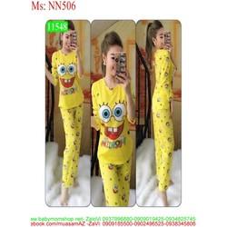 Đồ bộ mặc nhà dài tay hình bọt biển vàng dễ thương NN506
