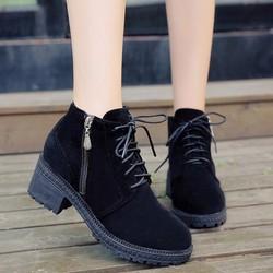 Giày bốt nữ cao gót da lộn khóa kéo