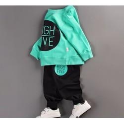 Bộ quần áo bé trai dài tay in hình HIGH FIVE thời trang Lâm Anh