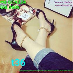 Giày cao gót nữ hở mũi màu đen sang trọng