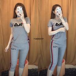Set bộ thun Fila quần lửng viền  thiết kế! - MS: S280988 Giá sỉ: 140K