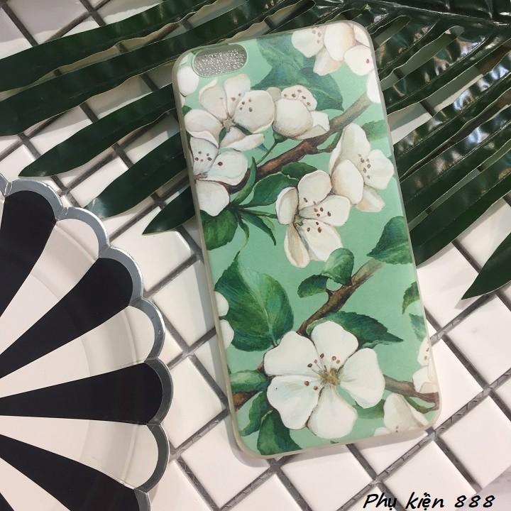 Ốp lưng silicon Iphone 6p hoa xanh 1