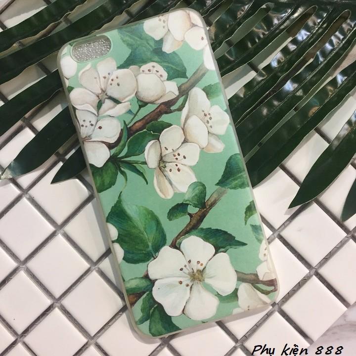 Ốp lưng silicon Iphone 6p hoa xanh 7