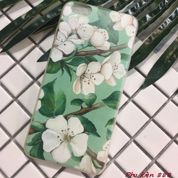 Ốp lưng silicon Iphone 6p hoa xanh 5