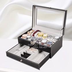 Hộp đựng nữ trang và đồng hồ da 12 chiếc MX004