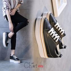 Giày Sneaker Nữ Đen Đế Cao 5cm