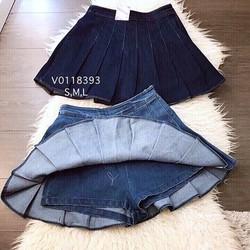 Chân váy jeans xếp ly lót quần