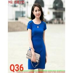 Đầm jean nữ ngắn tay thiết kế đơn giản và phong cách DJE195